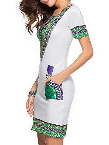 Grigio Folk Africa Partito Classico Matita Coolred Skinny Caldo donne fit Stile Vestito nPgTOwg