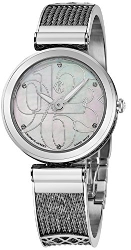 Charriol Forever Mixed-Numerals Womens Dress Watch - 32mm Analog Mother of Pearl Face Ladies Quartz Watch with Sapphire Crystal - Twisted Cable Stainless Steel Band Swiss Made Luxury Watch for ()