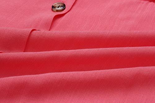 Gavemenget Primavera Tunica con Maglie e Camicetta Donna T Maglietta Autunno Top Scollo Shirts Cime Lunga Rosso a Camicie Shirt Casual Manica V Bottoni Bluse ddqr1XWwn
