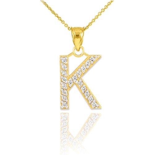 ld Diamond Initial Letter K Pendant Necklace, 22