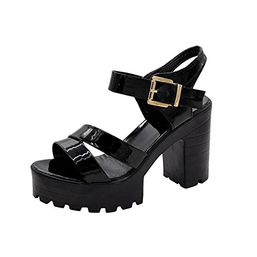 à Femme Femme Talon Noir Carre Bouche Sandales Noir Chaussures Talons Poissons Sandales Sandale Plateforme p1qR5RzS