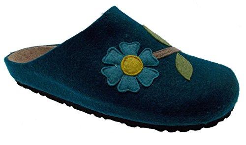 ciabatta essence laine bleue art en tissu 19601 fleurs