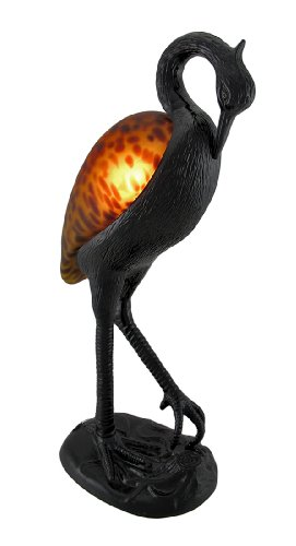 Resin And Glass Accent Lamps Frosted Spotted Amber Glass Heron Accent Lamp 6 X 13.25 X 4 Inches Amber (Amber Lamp Table Accent)