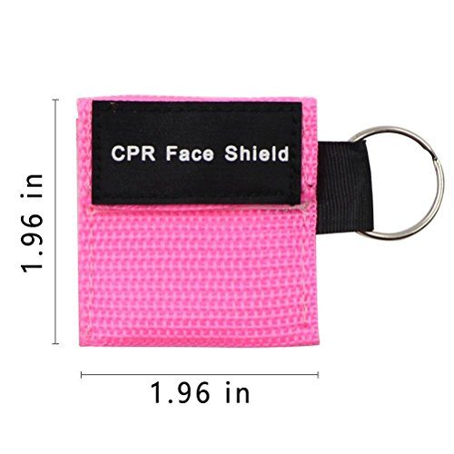 Pack of 10pcs CPR Face Shield Mask Keychain Keying Emergency Kit CPR Pocket Mask for First Aid or CPR Training (Pink-10)