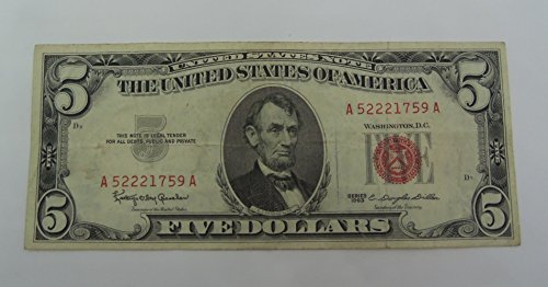 1963 Treasury Note Red Ink $5 Seller Various Grades
