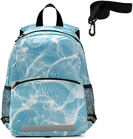 Blue Sea Wave Toddler Backpack Kids Tropical Summer Kindergarten Schoolbag Preschool Nursery Travel Bag with Safety Leash Harness for Baby Boys Girls 3-8 Years