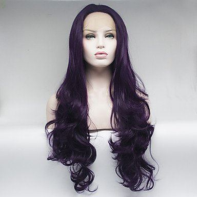 Peluca de encaje sintético para mujer, tamaño mediano, larga, rizada, pelo natural
