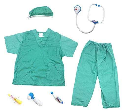 GiftExpress Green Nurse Doctor Role Play Costume Dress-Up Pretend Play Outfit Play Set (7 pcs) ()
