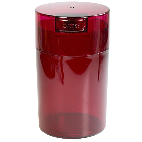 Tightvac - 1 oz to 6 ounce Airtight Multi-Use Vacuum Seal Portable Storage Container for Dry Goods, Food, and Herbs - Red Tint Cap & Body