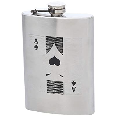 Maxam KTFLKACE Stainless Steel Flask with Ace of Spades, 8 oz, Not Applicable