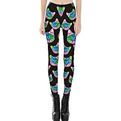 JOYHY Women's Shiny Stretchy 3D Printed Leggings Pants Footless Tights 1415 Colorful Cats