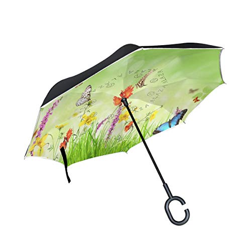 Reverse Umbrella Spring Flowers Grass Butterfly Windproof Double Layer for Car