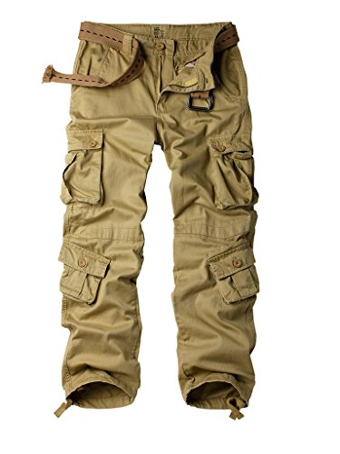 Must Way Men's Cotton Casual Military Army Cargo Camo Combat Work Pants with 8 Pocket Khaki 38