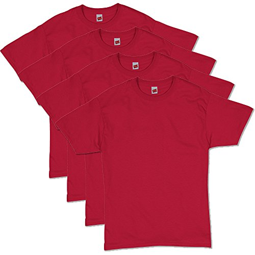 Red T-shirt - Hanes Men's Comfortsoft T-Shirt (Pack Of 4),Deep Red,Large
