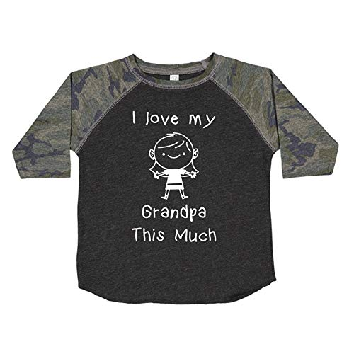 I Love My Grandpa This Much (Little Girl) - Toddler/Kids Raglan T-Shirt (Smoke/Camo 5/6T) ()
