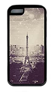 iPhone 5C Case, Personalized Protective Rubber Soft TPU Black Edge Case for iphone 5C - Eiffel Tower01 Cover