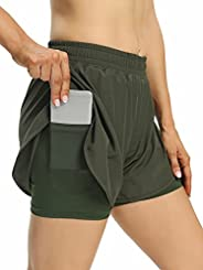Zentrex Womens 2in1 Running Shorts Double Layer Workout Athletic Shorts Quick Dry with Pockets