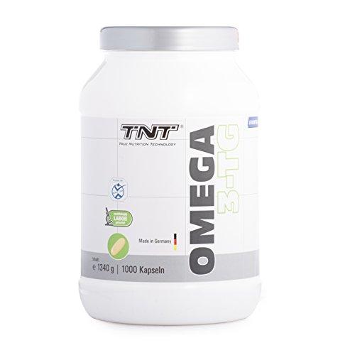 TNT Omega 3-TG │ Hochwertige und essentielle Fettsäuren │ Fischöl-Kapseln mit hochdosiertem EPA & DHA unterstützen die Gesundheit, Fitness und das Immunsystem | Fisch-ÖL - Made in Germany - 1000 Kapseln