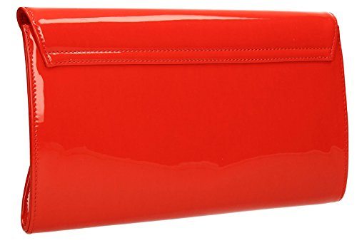 UK Women Evening Bag SWANKYSWANS Designer Ladies Pennie Clutch Bridal Envelope Red Leather Patent Party Designer Bags RnOHCq