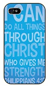 iPhone 4 / 4s Bible Verse - I can do all things through Christ who gives me strenght. Philippians 4:13 - black plastic case / Verses, Inspirational and Motivational