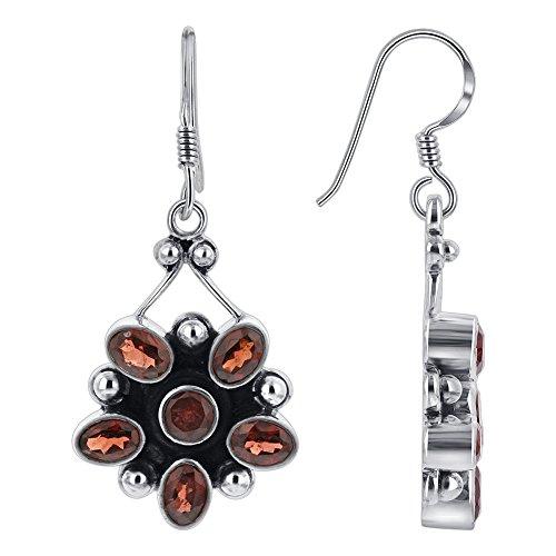 Gem Avenue 925 Sterling Silver French wire Hook Flower Design Garnet Gemstone Drop Earrings for women