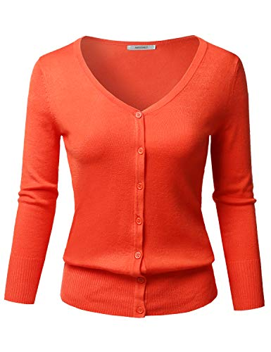 (Solid Button Down V-Neck 3/4 Sleeves Knit Cardigan Dark Coral M)
