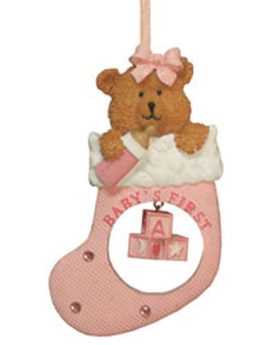 Sweet Baby Girl Bear in a Stocking Ornament [7091428GIRL] (Ornament Northstar)