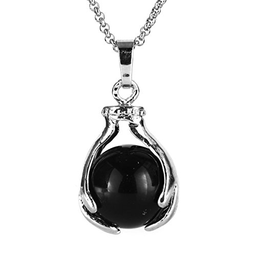 BEADNOVA Healing Natural Black Onyx Gemstone Necklace Crystal Ball Pendant Necklace with Stainless Steel Chain 18