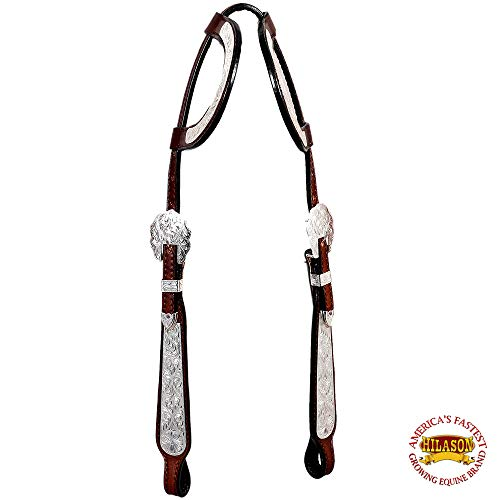 HILASON American Leather Horse Two Ear Headstall Dark Brown Silver Show TACK ()