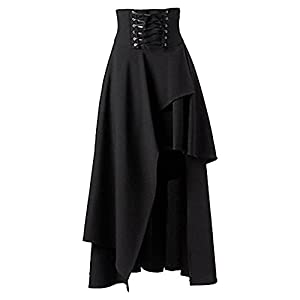BettiCharm Women's Pure Black Gothic Lolita Band Waist Skirt