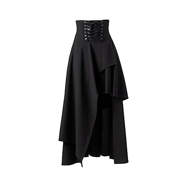 Betti Charm Women's Pure Black Gothic Lolita Band Waist Skirt 3