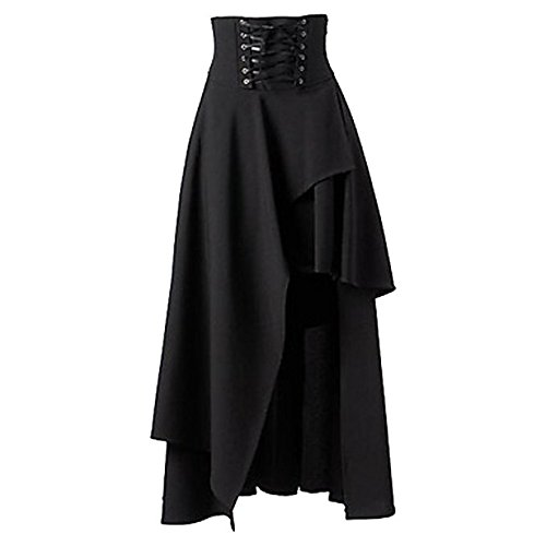 [Betti Charm Women's Pure Black Gothic Lolita Band Waist Skirt (Asian-XL)] (Goth Dress)