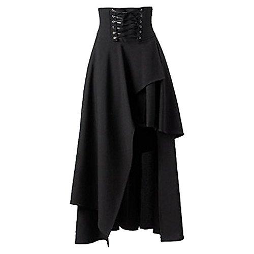 BettiCharm Women's Pure Black Gothic Lolita Band Waist Skirt