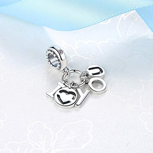Calvas New Authentic 925 Sterling Silver Charm Bead Letter I Love You Pendant Charms Valentines Day Gift Bracelets Women DIY Jewelry