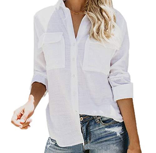 Shirts a Maglie Risvolto Maglietta Casual Autunno Bluse Donne Manica Cime Lunga Moda Camicie Primavera pg7wqa