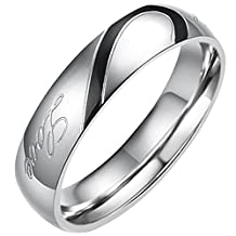 "Flongo Men's Womens ""Real Love"" Heart Matching Stainless Steel Couples Engagement Ring Wedding Promise Band"