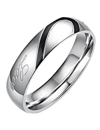 """Flongo Men's Womens """"Real Love"""" Heart Matching Stainless Steel Couples Engagement Ring Wedding Promise Band"""