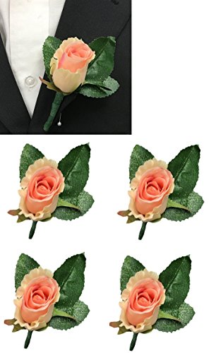 Set of 5-Keepsake Nice rosebud coral peach pink rose bud boutonnieres-Pin included