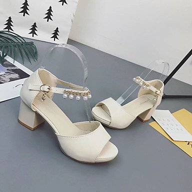 amp; Heels High Sommer Hochzeit Leuchtende Kleid SchnalleBlockabsatz PU white Walking Damen Sohlen Festivität Normal LvYuan Leuchtende Perle Sohlen ggx Party tEgx7wqw1
