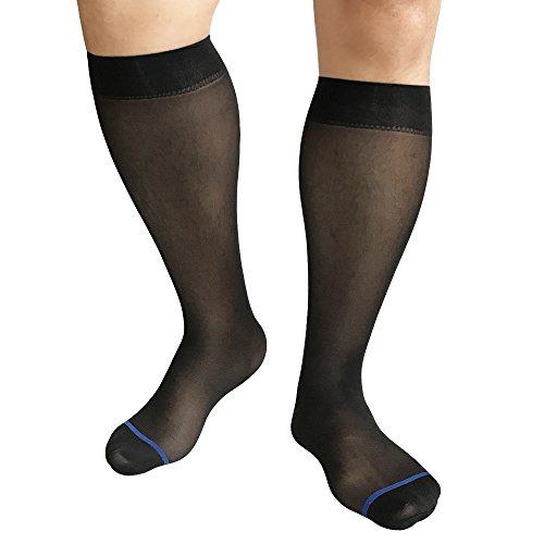 Mr.Babuu 3Pairs Pack Men's Over The Calf Black Soft Velvet Nylon Sheer Silk Fashion Dress Socks (Blue (Sheer Dress Socks)