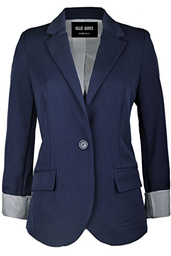 Ollie Arnes Women's Chic Trendy Professional Attire Long Sleeve Blazer Jacket 51_Navy (Shirt Jacket Blazer)