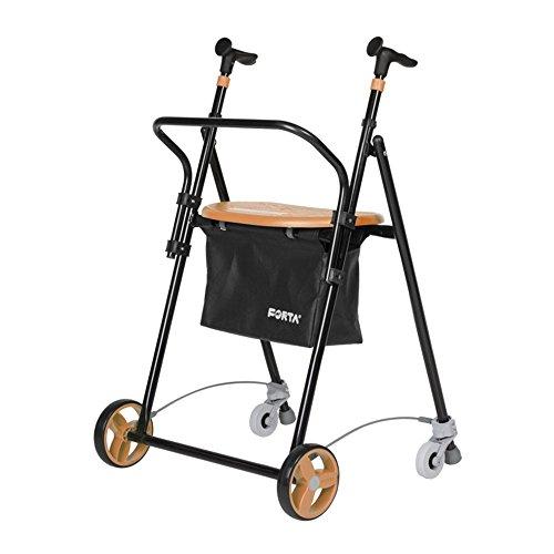 Andador para Ancianos, de acero plegable, con Frenos traseros, con Cesta Asiento y Respaldo, color Salmón