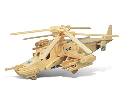 Puzzled Black Shark Helicopter Wooden 3D Puzzle 84 Interlocking Pieces Aircraft Woodcraft Construction Kit Easy to Build Chopper Gift w/ Instructions Inside Assembly Size - Models Aircraft 3d