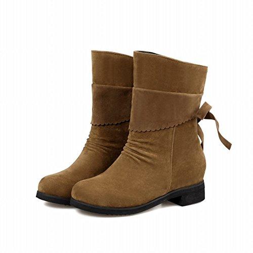 Dameslaarzen Bowknots Mode Comfort Elegance Lage Hak Korte Laarzen Bruin