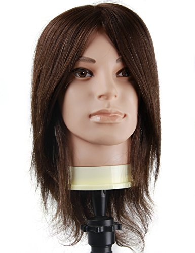 Beauty : Cosmetology Male Mannequin Head with 100% Human Hair for Barber Shops Styling Cutting Practicing (E50)