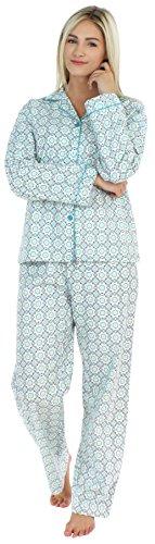 PajamaMania Women's Sleepwear Flannel Long Sleeve Pajama Set- Blue Circles (PMF1002-2038-SML)