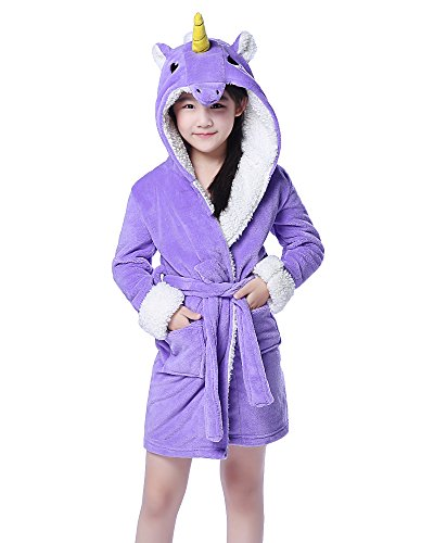 (NEWCOSPLAY Children's Unicorn Hooded Bath Robe (8-10 Years, Purple Unicorn))