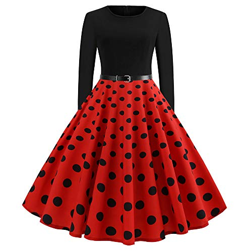 ChenXi Store 50s Hepburn Polka Dot Printed Elegant Party Swing Vintage Dress for Woman Red -