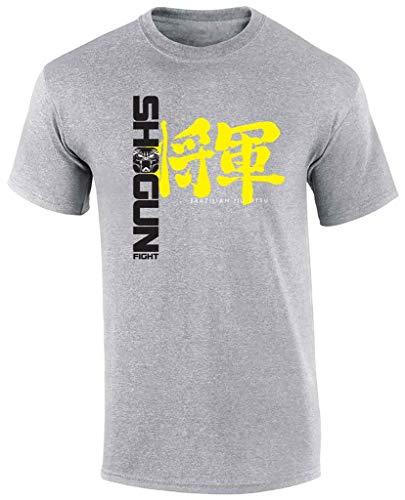 SHOGUN Fight Brazilian Jiu Jitsu T-Shirt BJJ Tee, Large Kanji Grey