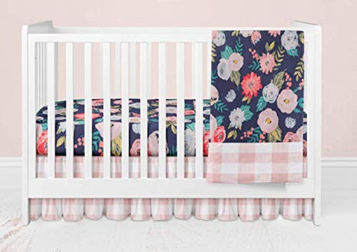 Crib Bedding Set - 3 Piece Pink Buffalo Plaid and Navy Floral Bedding Set by Twig + Bird - Handmade in America
